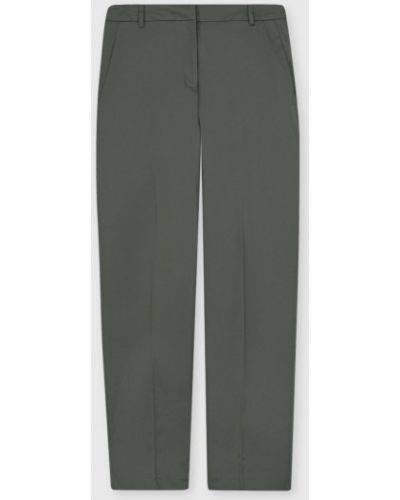 Хлопковые прямые зеленые брюки Ostin
