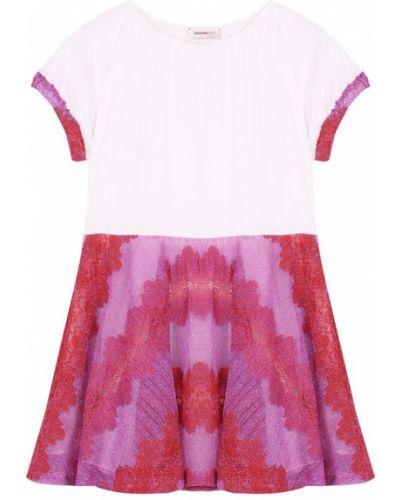 Платье мини розовое из вискозы Missoni
