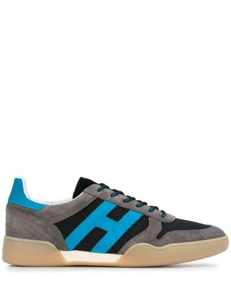 Skórzane sneakersy z logo sznurowane Hogan