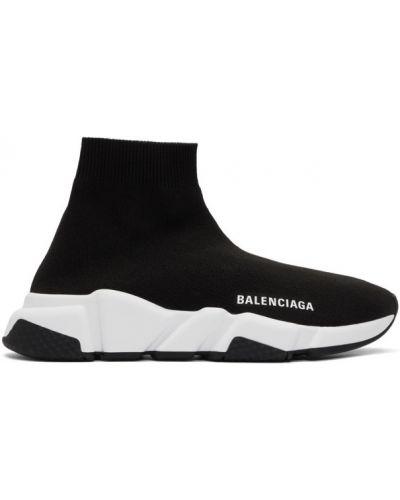 Czarny wysoki sneakersy okrągły wytłoczony okrągły nos Balenciaga