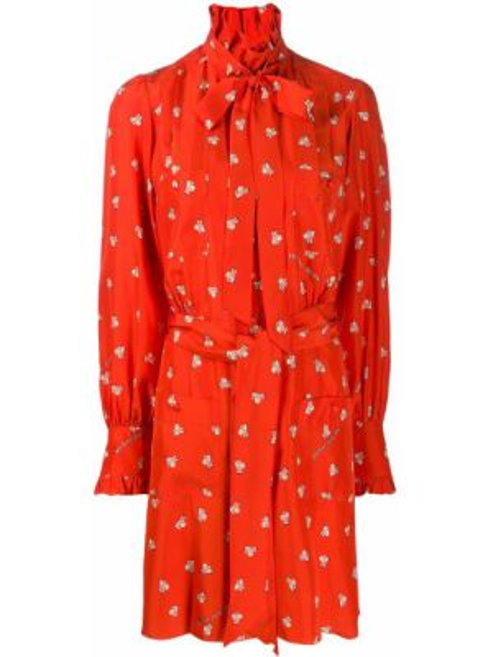 Шелковое красное платье макси с поясом Marc Jacobs