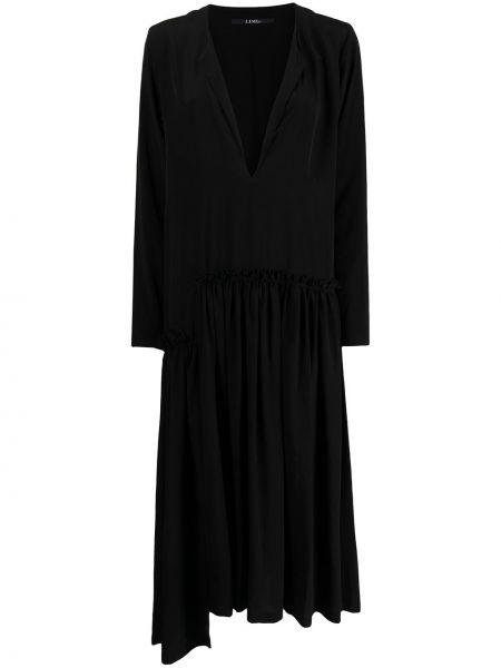 Czarna sukienka rozkloszowana z długimi rękawami Yohji Yamamoto