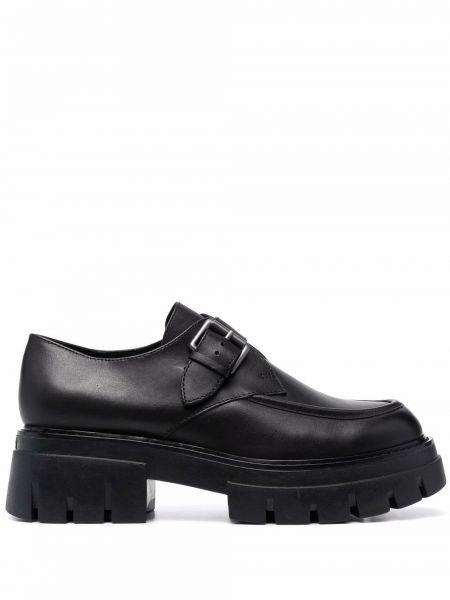 Loafers na obcasie - czarne Ash