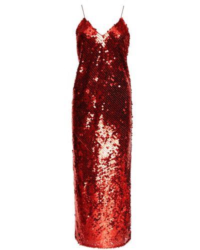 Прямое красное коктейльное платье с пайетками ли-лу