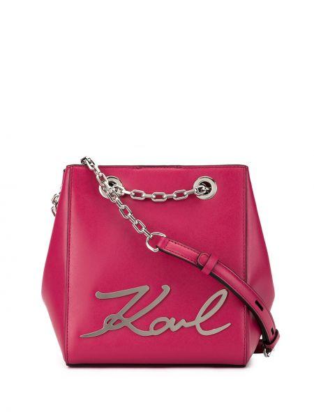 Кожаная сумка на цепочке розовый Karl Lagerfeld
