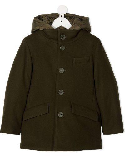 Коричневое пуховое пальто классическое с капюшоном Herno Kids