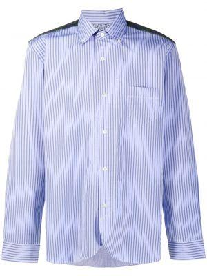 Синяя рубашка с воротником с нашивками на пуговицах Junya Watanabe Man