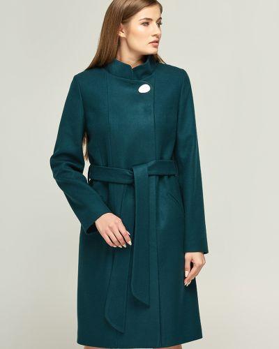 Пальто с поясом - зеленое Danna