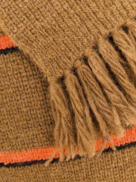 Шерстяной шарф - коричневый Ami Paris