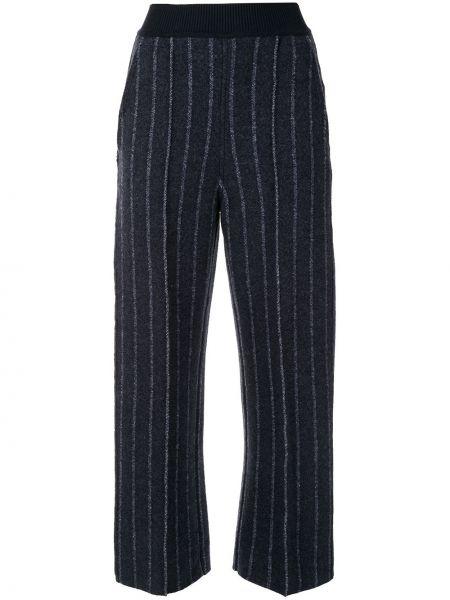 Синие укороченные брюки свободного кроя в рубчик с высокой посадкой Coohem