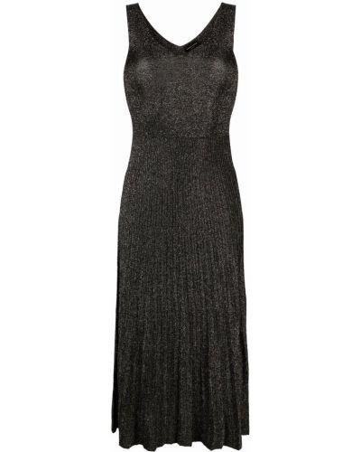 Плиссированное черное платье миди без рукавов Roberto Collina