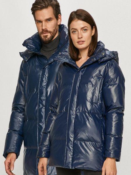 Синяя куртка с капюшоном с воротником Rains