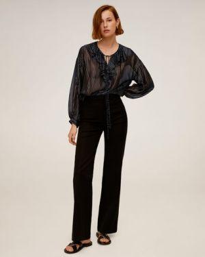 Блузка с длинным рукавом с рюшами с завязками Mango