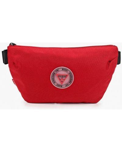 Текстильная красная поясная сумка Guess