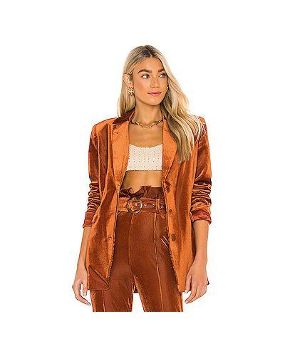 Коричневый пиджак с карманами на пуговицах Retrofete