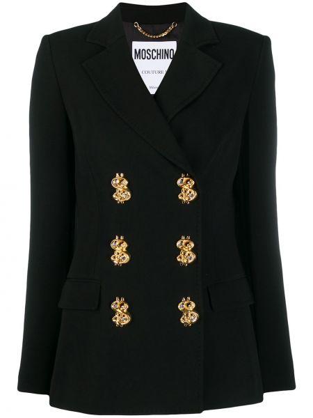 Черный приталенный кожаный классический пиджак Moschino