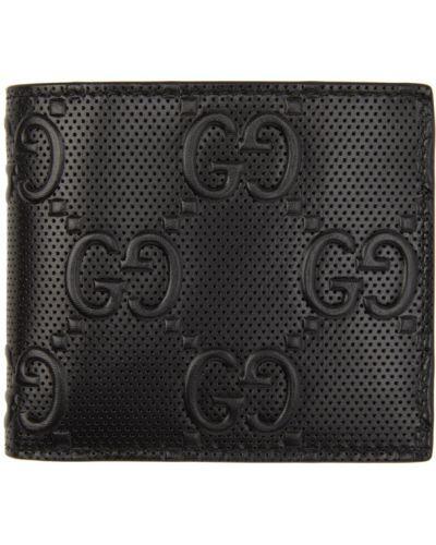 Кожаный черный кошелек для монет с тиснением со шлицей Gucci