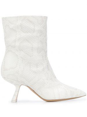 Biały buty na pięcie z ostrym nosem z prawdziwej skóry na pięcie Nicholas Kirkwood
