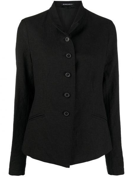 Однобортный черный удлиненный пиджак с воротником Rundholz