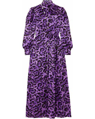 Шелковое платье миди - фиолетовое Alessandra Rich