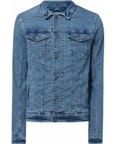 Niebieski bawełna kurtka jeansowa z paskami Tom Tailor