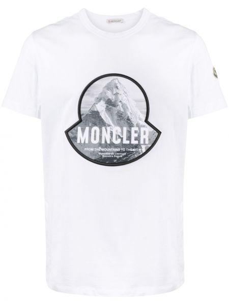 Bawełna biały koszula z krótkim rękawem z łatami okrągły dekolt Moncler
