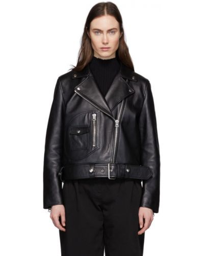 Черная кожаная длинная куртка байкерская Acne Studios