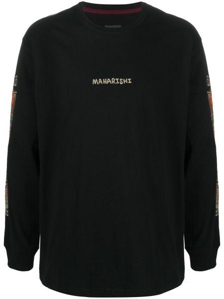 Хлопковая с рукавами черная футболка Maharishi