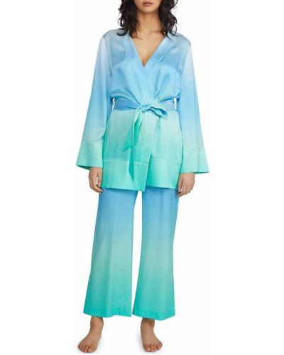 Шелковый халат для сна с длинными рукавами Badgley Mischka