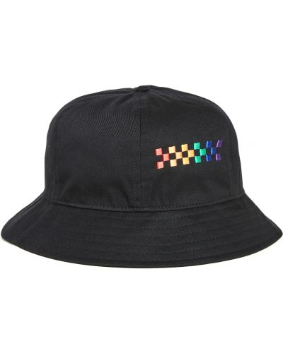 Czarny kapelusz bawełniany z haftem Vans