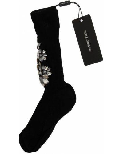Czarne skarpety bawełniane w kwiaty Dolce And Gabbana
