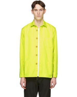 Желтая длинная куртка с манжетами с карманами с воротником Schnaydermans