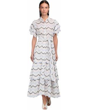 Платье макси с вышивкой с воротником из поплина Luisa Beccaria