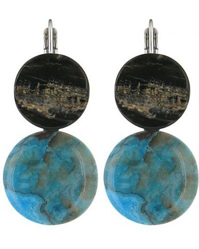 Серьги черные голубой Nature Bijoux