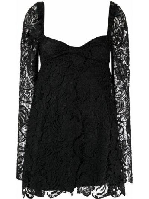 Czarna sukienka mini koronkowa z długimi rękawami Wandering
