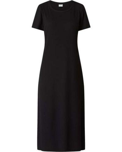 Prążkowana czarna sukienka midi rozkloszowana Vila