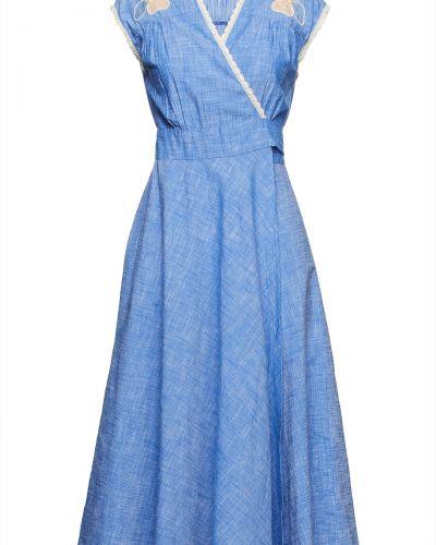 Niebieska sukienka z haftem Antik Batik