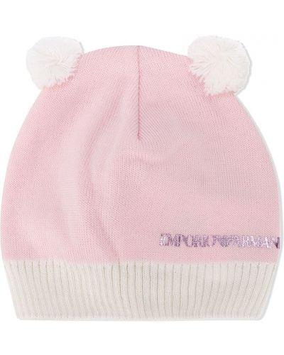 Розовая вязаная шерстяная кепка Emporio Armani Kids