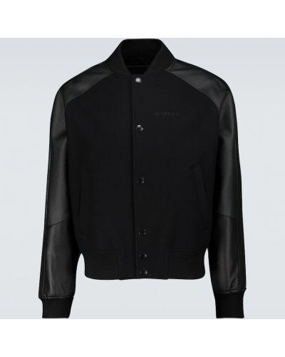 Czarna kurtka skórzana z raglanowymi rękawami Givenchy