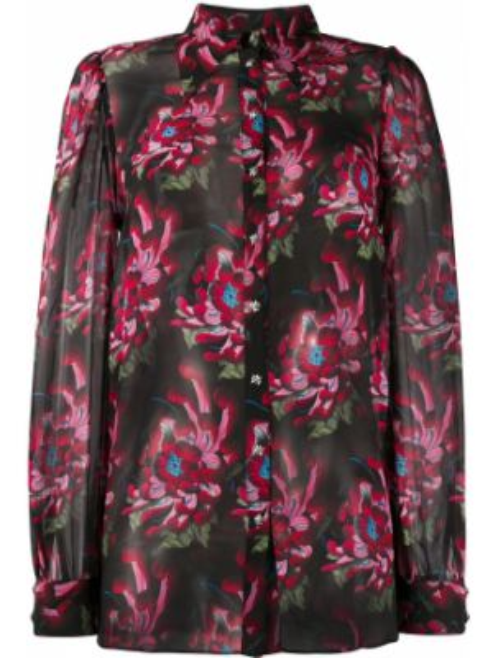 Bluzka z długim rękawem w kwiatowe wzory jedwabna John Richmond