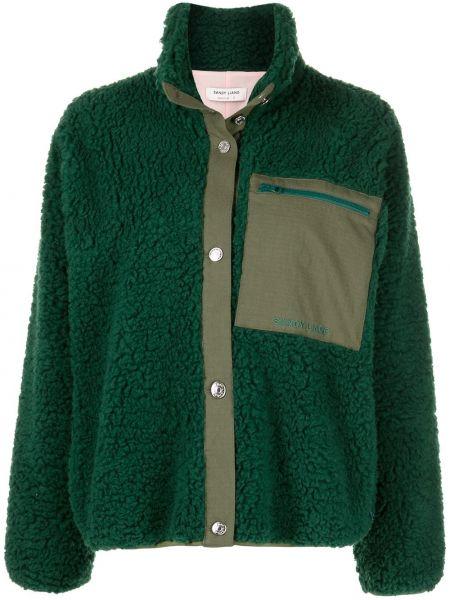 Флисовая зеленая куртка с воротником Sandy Liang