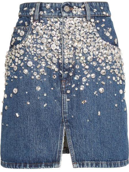 Синяя классическая джинсовая юбка с разрезом с карманами Miu Miu