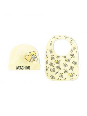 Ватная хлопковая желтая шапка бини Moschino Kids