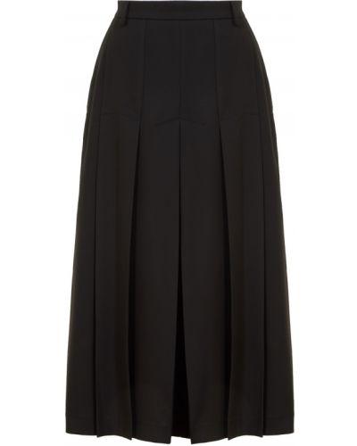 Черная юбка миди со складками из вискозы Laroom