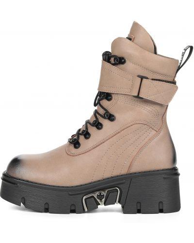 Бежевые ботинки на шнуровке из нубука Respect