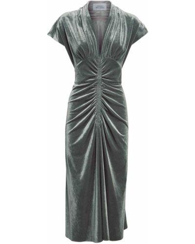 Бархатное платье миди с оборками милитари Luisa Beccaria