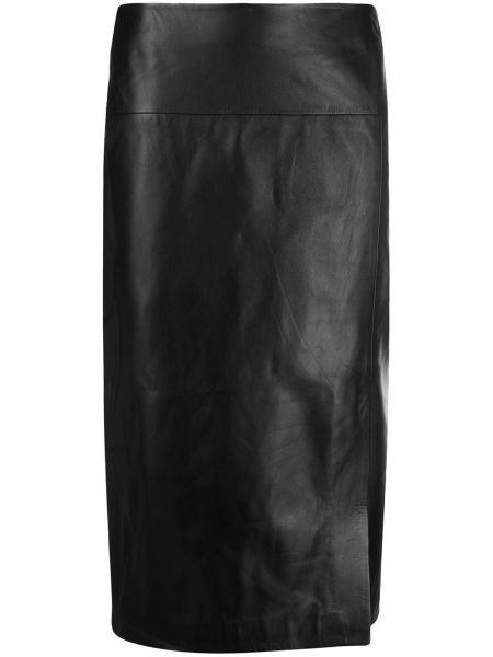 Черная с завышенной талией юбка миди на молнии матовая Arma