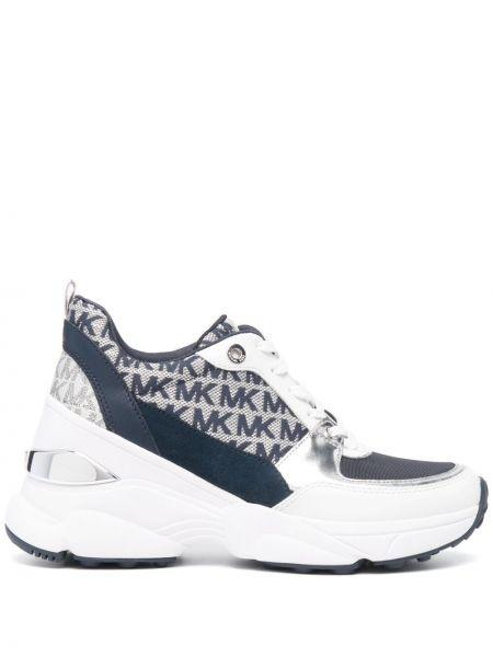 Кожаные белые кроссовки на платформе Michael Michael Kors