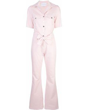 Розовый комбинезон на пуговицах с поясом Carolina Ritzler