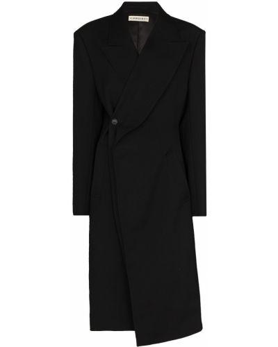 Шерстяное черное длинное пальто двубортное Y/project